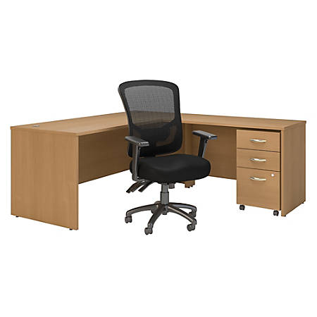 """Bush Business Furniture Components 72""""W L-Shaped Desk With Mobile File Cabinet And High-Back Multifunction Office Chair, Light Oak, Standard Delivery"""