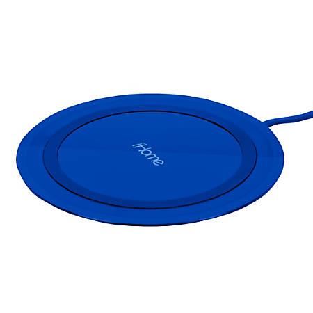 iHome Rainbow Ultra Slim QI Wireless Charging Pad, Blue, IH-QI1001N-P2