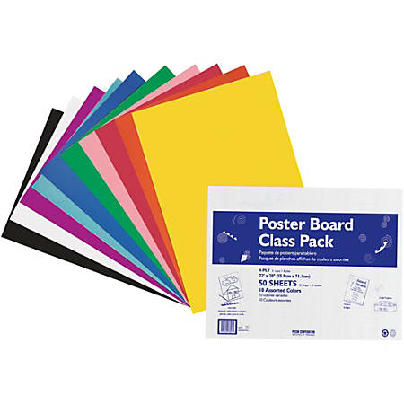 "Pacon® Peacock® 100% Recycled Railroad Board, 22"" x 28"", 4-Ply, Assorted, Carton Of 50 Sheets"