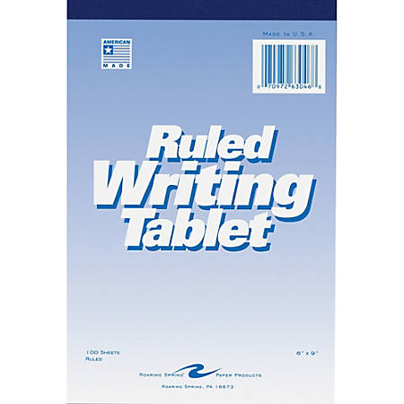 """Roaring Spring Ruled Writing Tablets - 100 Sheets - 6"""" x 9"""" - White Paper - 1Each"""