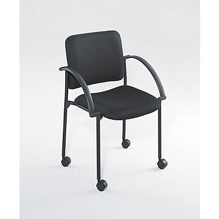 """Safco® Moto™ Mobile Stack Chairs, 31 3/4""""H x 23 1/2 x 31 3/4""""D, Black Fabric, Set Of 2"""