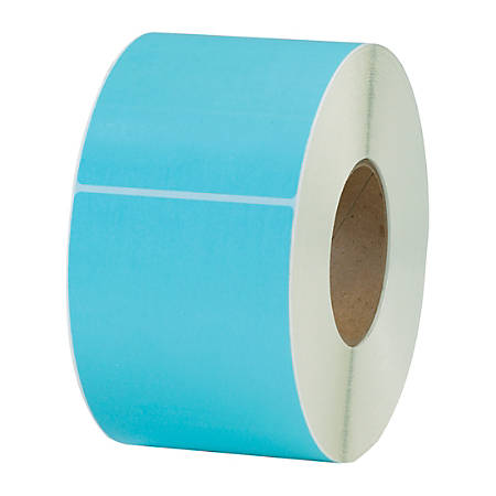"Office Depot® Brand Colored Rectangle Thermal Transfer Labels, THL130BE, 4"" x 6"", Light Blue, 1,000 Labels Per Roll, Pack Of 4 Rolls"