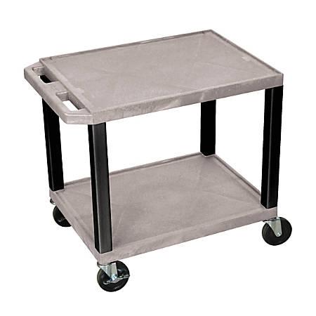 "H. Wilson 26"" Plastic Utility Cart, 26""H x 24""W x 18""D, Gray/Black"