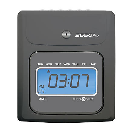 "Pyramid™ 2650Pro 6-Column Top Loading Time Clock, 8.5"" x 7.25"" x 5"", Charcoal"