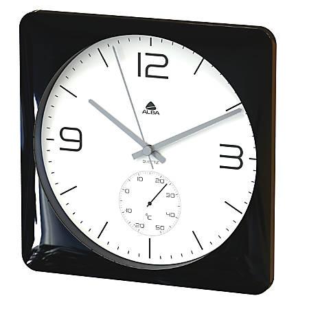 """Alba Duo Silent Square Clock With Temperature Indicator, 12""""H x 12""""W x 9 3/4""""D, Black"""