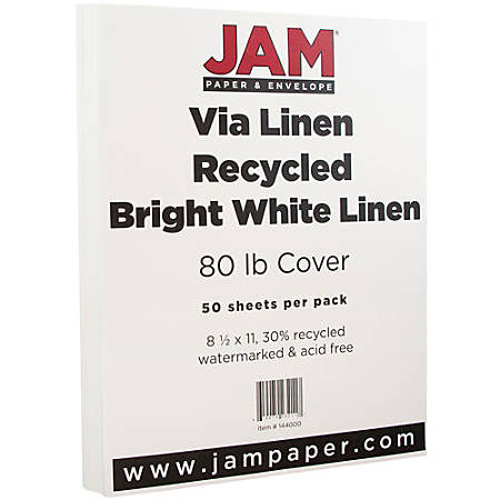 """JAM Paper® Cover Card Stock, 8 1/2"""" x 11"""", 88 Lb, 30% Recycled, Strathmore Bright White Laid, Pack Of 50 Sheets"""