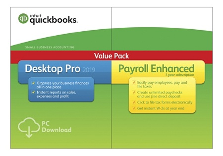QuickBooks® Desktop Pro 2019 With Enhanced Payroll, Download Version Item #  6878870