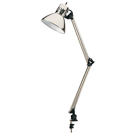 "Realspace™ Clamp-On Task Lamp, 29-1/2""H, Brushed Steel"