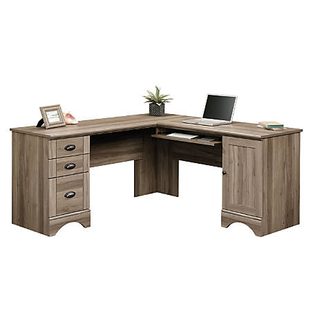 Sauder® Harbor View Corner Computer Desk, Salt Oak