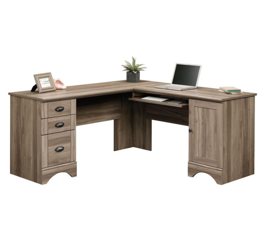 Sauder Harbor View Collection Corner Computer Desk Salt Oak By Rh Officedepot Com 2 Ctns