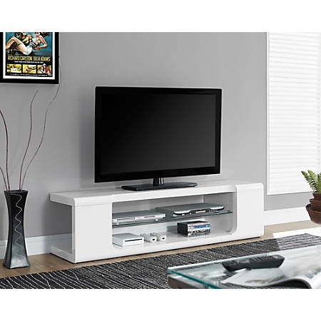 "Monarch Specialties Glossy TV Stand For TVs Up To 60"", White"