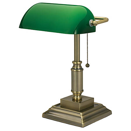 "Realspace™ Traditional Banker's Lamp, 14-3/4""H, Antique Brass"