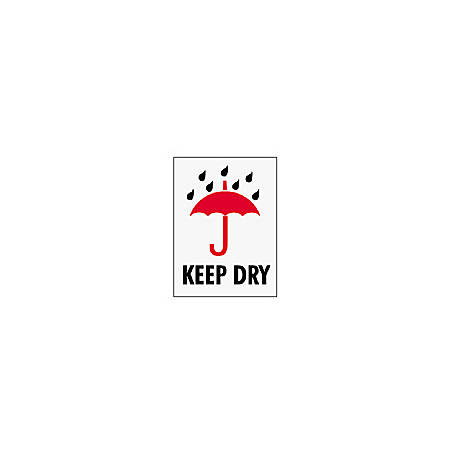 "Tape Logic® Preprinted International Safe-Handling Labels, IPM303, ""Keep Dry,"" 3"" x 4"", Red, Pack Of 500"