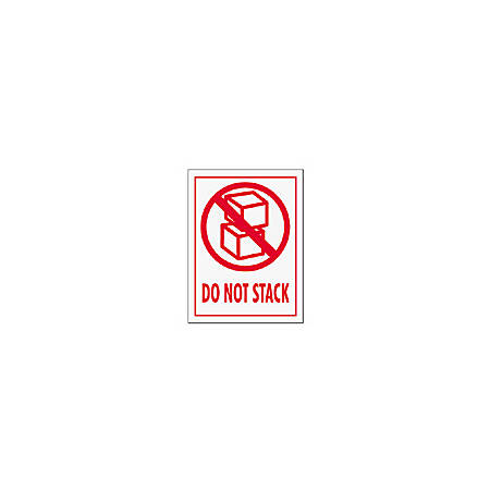 "Tape Logic® Preprinted International Safe-Handling Labels, IPM309, ""Do Not Stack,"" 3"" x 4"", Red, Pack Of 500"