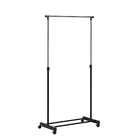 "Honey-Can-Do Adjustable-Height Rolling Garment Rack, 65 3/4""H x 16 11/16""W x 33 1/16""D, Chrome"