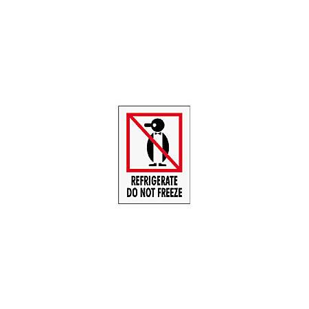 "Tape Logic® Preprinted International Safe-Handling Labels, IPM315, ""Refrigerate Do Not Freeze,"" 3"" x 4"", Red, Pack Of 500"