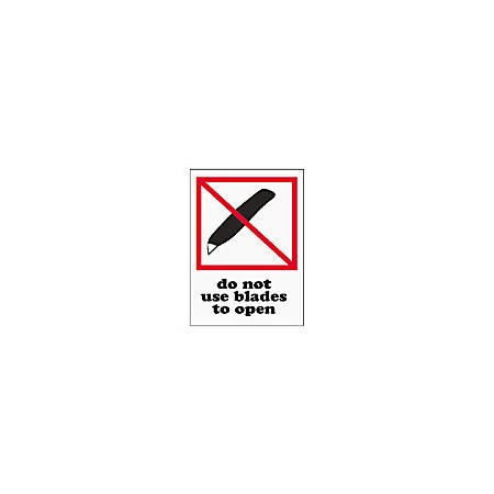 "Tape Logic® Preprinted International Safe-Handling Labels, IPM325, ""Do Not Use Blades To Open,"" 3"" x 4"", Red, Pack Of 500"