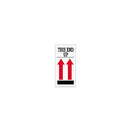 "Tape Logic® Preprinted International Safe-Handling Labels, SCL903, ""This End Up,"" 2 Red Arrows Over Black Bar, 4"" x 8"", Red, Pack Of 500"