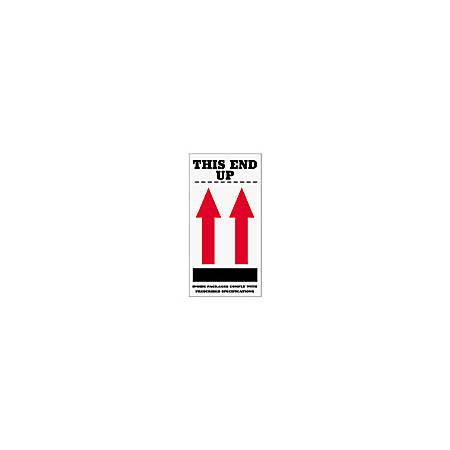 """Tape Logic® Preprinted International Safe-Handling Labels, SCL904, """"This End Up,"""" 2 Red Arrows Over Black Bar, """"Inside Packages Comply With Prescribed Specifications,"""" 4"""" x 8"""", Red, Pack Of 500"""