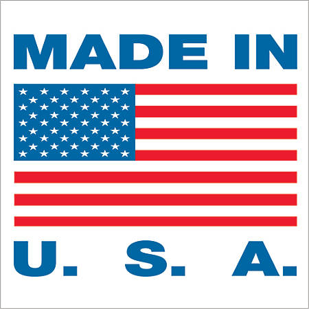 """Tape Logic® Preprinted Shipping Labels, USA304, """"Made In U.S.A.,"""" 2"""" x 2"""", Red/White/Blue, Pack Of 500"""