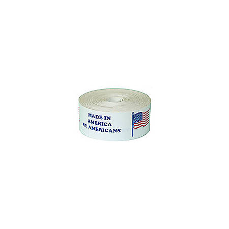 """Tape Logic® Preprinted Shipping Labels, USA501, """"Made In America By Americans,"""" 4"""" x 4"""", Red/White/Blue, Pack Of 500"""