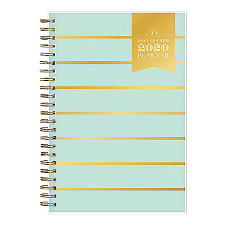 "Day Designer® Frosted Weekly/Monthly Planner, 5"" x 8"", Mint Skinny Stripe, January To December 2020, 116897"