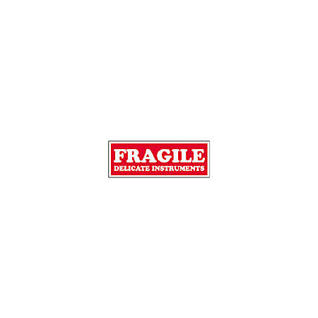 "Tape Logic® Preprinted Shipping Labels, SCL202R, ""Fragile Delicate Instruments,"" 1 1/2"" x 4"", Red/White, Pack Of 500"
