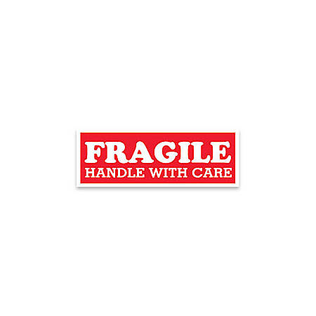 "Tape Logic® Preprinted Shipping Labels, SCL203, ""Fragile Handle With Care,"" 1 1/2"" x 4"", Red/White, Pack Of 500"