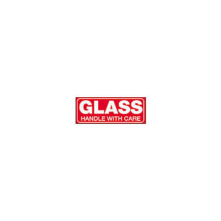 """Tape Logic® Preprinted Shipping Labels, SCL204R, """"Glass Handle With Care,"""" 1 1/2"""" x 4"""", Red/White, Pack Of 500"""