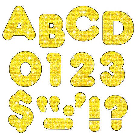 "TREND Ready Letters®, Casual, 3"", Yellow Sparkle, Pre-K - Grade 12, Pack Of 124"