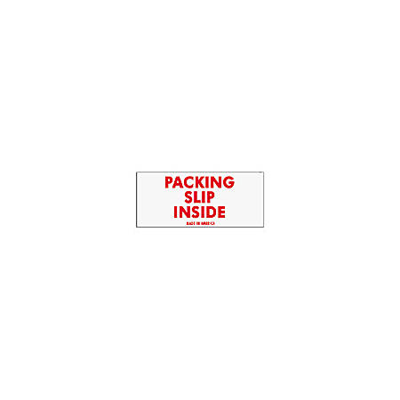 "Tape Logic® Preprinted Shipping Labels, SCL250, ""Packing Slip Inside,"" 2"" x 4"", Red/White, Pack Of 500"