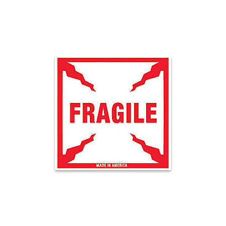 "Tape Logic® Preprinted Shipping Labels, SCL501, ""Fragile,"" 4"" x 4"", Red/White, Pack Of 500"