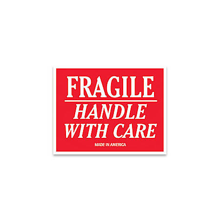 """Tape Logic® Preprinted Shipping Labels, SCL502R, """"Fragile Handle With Care,"""" 3"""" x 4"""", Red/White, Pack Of 500"""