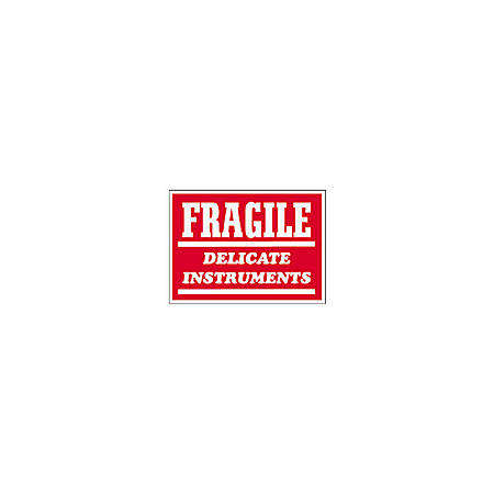 "Tape Logic® Preprinted Shipping Labels, SCL504R, ""Fragile Delicate Instruments,"" 3"" x 4"", Red/White, Pack Of 500"