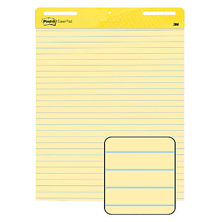 Post it self stick easel pad 25 x 30 faint rule on yellow paper 30