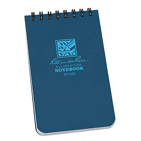 """Rite in the Rain All-Weather Spiral Notebooks, Top, 3"""" x 5"""", 100 Pages (50 Sheets), Blue, Pack Of 12 Notebooks"""