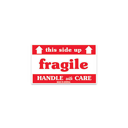 "Tape Logic® Preprinted Shipping Labels, SCL521, ""This Side Up Fragile Handle With Care,"" 3"" x 5"", Red/White, Pack Of 500"