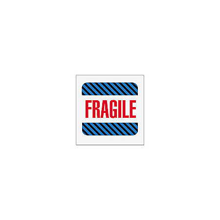"""Tape Logic® Preprinted Shipping Labels, SCL522, """"Fragile,"""" 4"""" x 4"""", Blue/Red/White, Roll Of 500"""