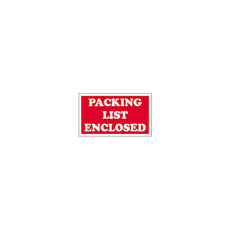 "Tape Logic® Preprinted Shipping Labels, SCL538, ""Packing List Enclosed,"" 3"" x 5"", Red/White, Pack Of 500"