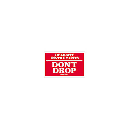 """Tape Logic® Preprinted Shipping Labels, SCL540, """"Delicate Instruments Don't Drop,"""" 3"""" x 5"""", Red/White, Pack Of 500"""