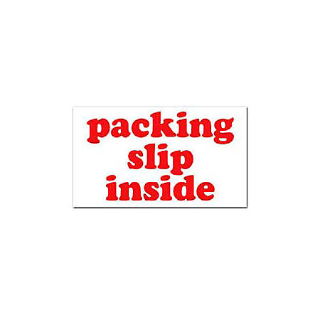 "Tape Logic® Preprinted Shipping Labels, SCL556, ""Packing Slip Inside,"" 3"" x 5"", Red/White, Pack Of 500"