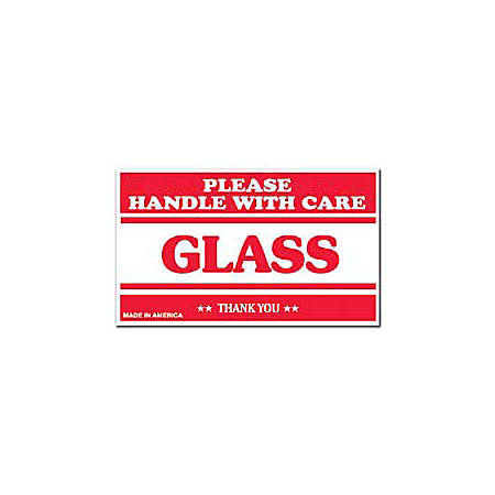 """Tape Logic® Preprinted Shipping Labels, SCL566, """"Please Handle With Care Glass Thank You,"""" 3"""" x 5"""", Red/White, Pack Of 500"""
