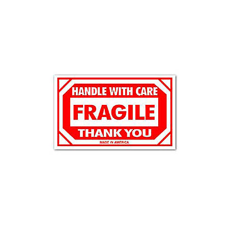 """Tape Logic® Preprinted Shipping Labels, SCL576, """"Handle With Care Fragile Thank You,"""" 3"""" x 5"""", Red/White, Pack Of 500"""