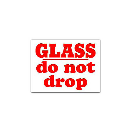 """Tape Logic® Preprinted Shipping Labels, SCL595R, """"Glass Do Not Drop,"""" 3"""" x 4"""", Red/White, Pack Of 500"""
