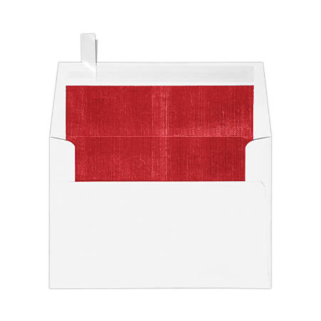 "LUX Foil-Lined Invitation Envelopes With Peel & Press Closure, A4, 4 1/4"" x 6 1/4"", White/Red, Pack Of 50"