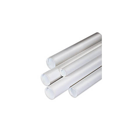 "Office Depot® Brand White Mailing Tubes With Plastic Endcaps, 1 1/2"" x 18"", 80% Recycled, Pack Of 50"