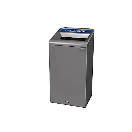 Rubbermaid® Commercial Products Configure Rectangular Steel Waste Receptacle, Mixed Recycling, 23 Gallons, Stenni Gray
