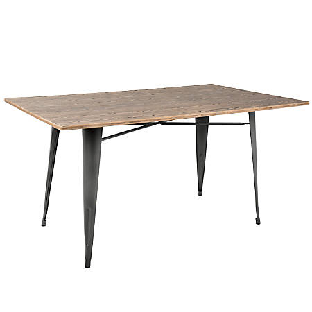 Lumisource Oregon Industrial Farmhouse Dining Table, Rectangular, Brown/Gray