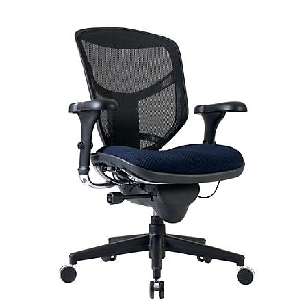WorkPro® Quantum 9000 Ergonomic Mesh/Fabric Managerial Mid-Back Chair, Navy Blue/Black