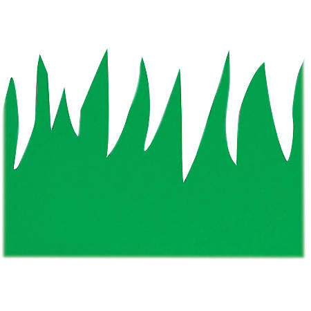 "Hygloss Green Grass Design Border Strips - 12 (Grass) Shape - Long Lasting, Durable, Damage Resistant - 3"" Height x 36"" Width - Green - 12 / Pack"